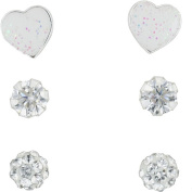 Hot Silver 0.43 Carat T.W. CZ and Crystal Sterling Silver Stud Trio