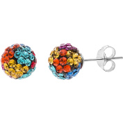 Angelique Silver Rainbow Crystal 18kt White Gold over Sterling Silver Ball Earrings