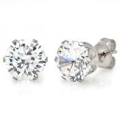 HMY Jewellery Silvertone Cubic Zirconia Stud Earrings