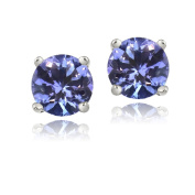 Enduring Jewels Icz Stonez Sterling Silver 6mm Blue Cubic Zirconia Stud Earrings