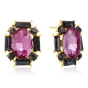 Adoriana Pink Crystal and Black Crystal Stud Earrings, Gold Over Brass, Pushbacks