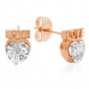 HMY Jewellery 18k Rose Gold-plated Stainless Steel Cubic Zirconia 'LOVE' Heart Studs