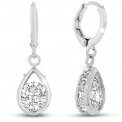 Adoriana Silver Over Brass Pear Shape Drop Earrings
