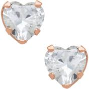 Believe By Brilliance 6mm CZ Heart-Shaped 10kt Rose Gold Stud Earrings