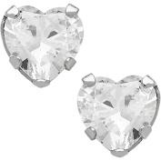 Believe By Brilliance 6mm CZ Heart-Shaped 10kt White Gold Stud Earrings