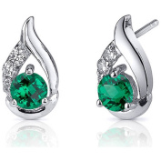 Oravo 1.00 Carat T.G.W. Round-Cut Emerald Rhodium over Sterling Silver Stud Earrings