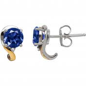 Duet Created Sapphire and White Topaz Sterling Silver and 10kt Yellow Gold Earrings