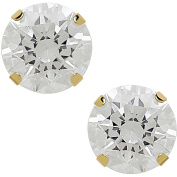 Believe By Brilliance 7.5mm CZ Round 10kt Yellow Gold Stud Earrings