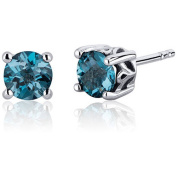 Oravo 2.00 Carat T.G.W. Round-Cut London Blue Topaz Rhodium over Sterling Silver Stud Earrings