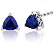 Oravo 2.00 Carat T.G.W. Trillion-Cut Blue Sapphire Rhodium over Sterling Silver Stud Earrings