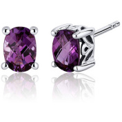 Oravo 2.00 Carat T.G.W. Oval-Cut Alexandrite Rhodium over Sterling Silver Stud Earrings
