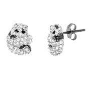 Angelique Silver Black and White CZ Two-Tone Sterling Silver Panda Bear Post Earrings