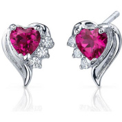 Oravo 1.50 Carat T.G.W. Heart-Shape Created Ruby CZ Rhodium over Sterling Silver Stud Earrings