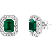 Angelique Silver CZ 18kt White Gold over Sterling Silver Emerald Green Halo Post Earrings