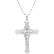 1913 Steel Crystal Accented Stainless Steel Cross Pendant