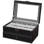 Watch Box Large 24 Men's Black Leather Display Glass Top Jewellery Case Organiser