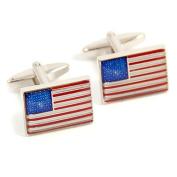 Bey-Berk Rhodium Plated USA Flag Cufflinks