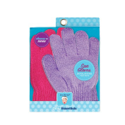 Spa Sister Twin Bathing Gloves, Pomegranate/Lavender