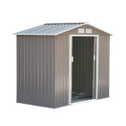 Outsunny 2.1m x 1.2m Outdoor Metal Garden Storage Shed - Grey/White