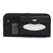 Car Sun Visor Multi Function Double-deck CD Holder Tissue Paper Box Pocket Black