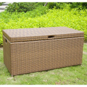 Jeco Wicker Patio Storage Deck Box in Espresso