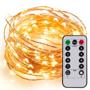 Kohree 60 LEDs String Lights with Remote Control 20ft 6M Long Thin String Copper Wire Decor Rope Lights Remote Control