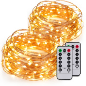Kohree 2 Pack 60LEDs String Lights with Remote Control, AA Battery Powered on 6.1m Long Copper Wire With Battery Box