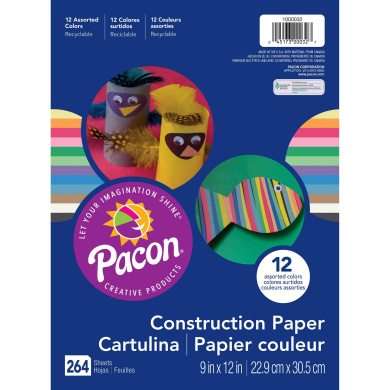 Pacon® 12 Assorted Colours, Sulphite Construction Paper, 264 Sheets