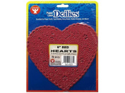 Hygloss Paper Lace Doilies Heart 15cm 36pc Red