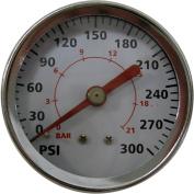 Amflo 5.1cm Pressure Gauge, 0.6cm or 0.3cm NPT, M