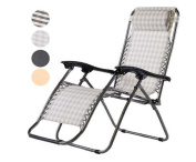 Foldable Reclining Sun Lounger Chair Furniture W/ Weather Proof Textoline Seat