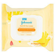 Johnson's Hand & Face Wipes, 25 sheets, 2 ct