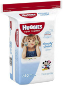 HUGGIES Simply Clean Baby Wipes, Unscented 240 ea