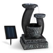 3 Tier Cascade Water Fountain Solar Stone Look Ornamental Decoration Shop Home