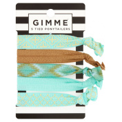 Gimme Sea Foam Green and Gold Fashion Ponytailers, 5 ct