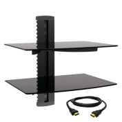 MegaMounts Tempered Glass Double Shelf Wall Mount with HDMI Cable