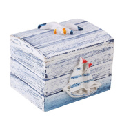 BQLZR Small Nautical Deco Box Mediterranean-style Wooden Jewellery Treasure Storage Beach Theme Souvenir with Smooth Sailing Pattern