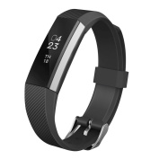 Replacement Wrist Band Soft Silicon Strap Clasp Buckle for Fitbit Alta Black