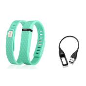 Zodaca 3D TPU Wristband Small Band Bracelet Clasp for Fitbit Flex - Mint Green