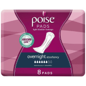 Poise Overnight Pads 8s