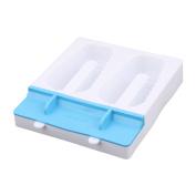Unique Bargains Home 2 Compartments Stripe Shape DIY Frozen Candy Ice Lolly Maker Mould Blue