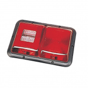 Bargman 34-84-008 Red Double RV Trailer Tail Light with Backup Lens & amp; Black Base