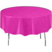 Round Plastic Neon Pink Table Cover, 210cm