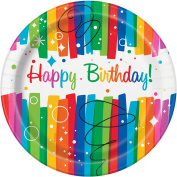 23cm Rainbow Birthday Party Plates, 8ct