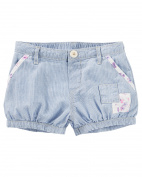 OshKosh B'gosh Baby Girls' Hickory Striped Patchwork Bubble Shorts 24 Months