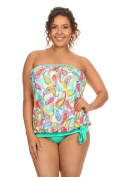 Dippin' Daisy's Plus Size Green Paisley Bandeau Blouson Tie Tankini Made in USA