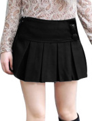 Unique Bargains Girl's Pleated Design Solid Colour Winter Fall Wear Mini Skirt