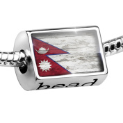 Bead Flag on Wood Nepal Charm Fits All European Bracelets