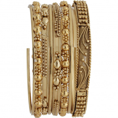 Gold-Tone Textured Bangle Bracelets, 7-Piece