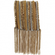 Gold- and Silver-Tone Fringe Cuff Bracelet
